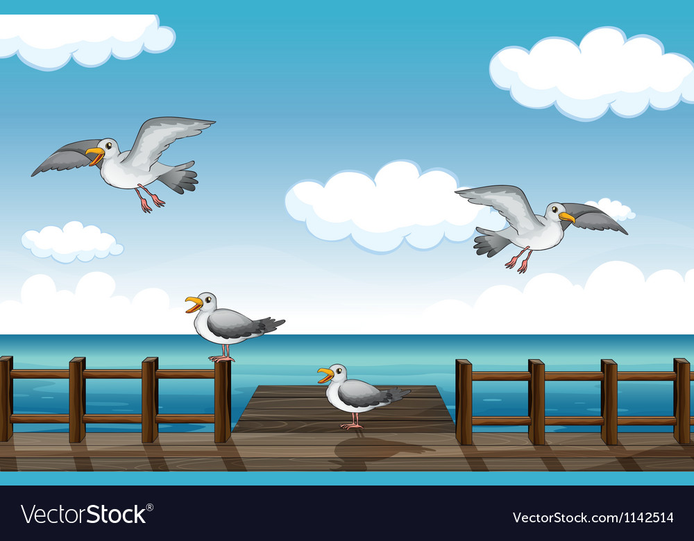 A flock of birds looking for foods vector | Price: 1 Credit (USD $1)