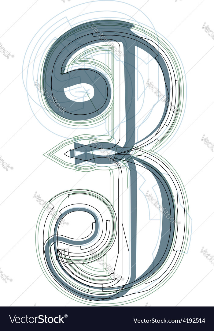Abstract number 3 vector   Price: 1 Credit (USD $1)