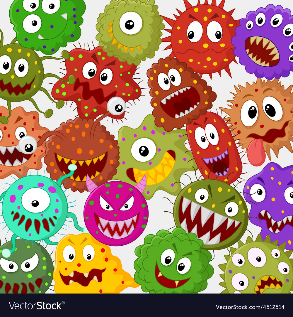 Cartoon bacteria collection set vector | Price: 1 Credit (USD $1)