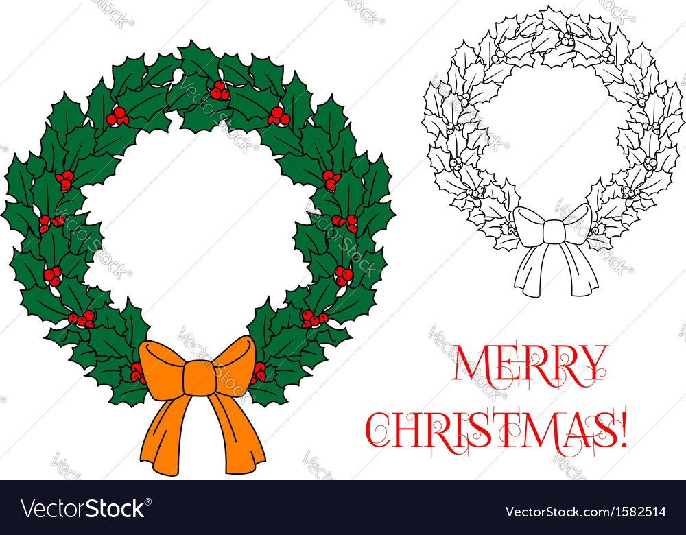 Christmas wreath with holly and berries vector | Price: 1 Credit (USD $1)