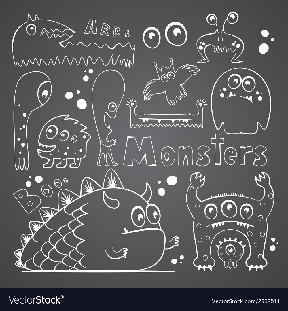 Collection of monsters vector | Price: 1 Credit (USD $1)