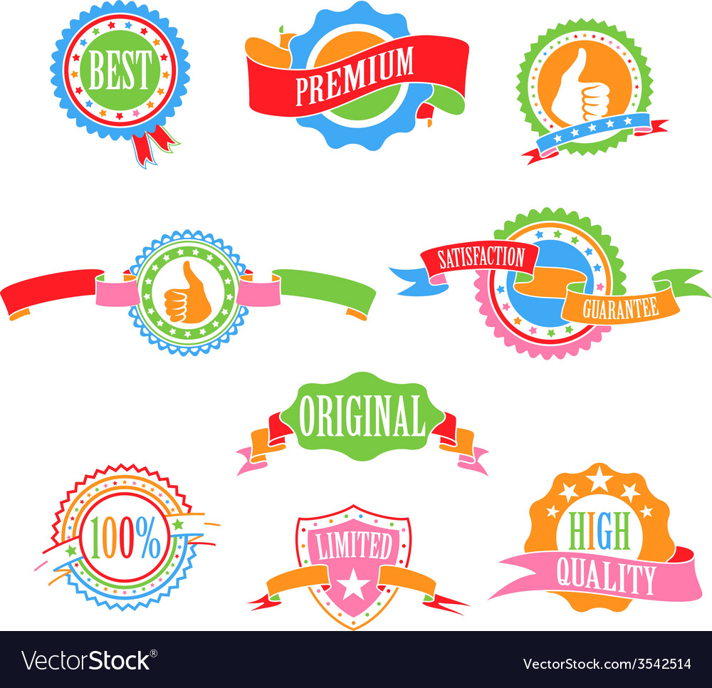 Color badges and ribbons vector | Price: 1 Credit (USD $1)