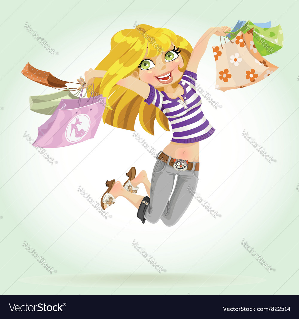 Cute blond girl shopaholic vector | Price: 3 Credit (USD $3)