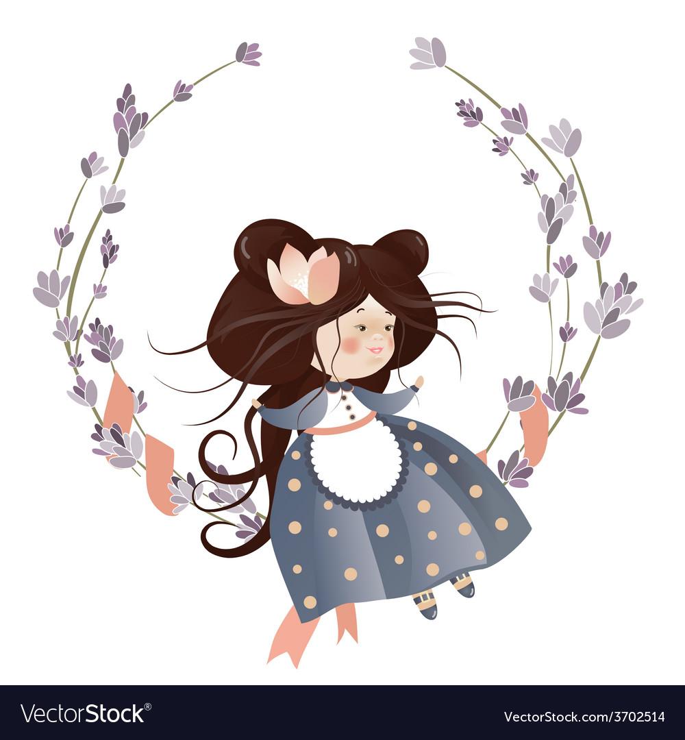 Cute girl in flower wreath vector | Price: 1 Credit (USD $1)