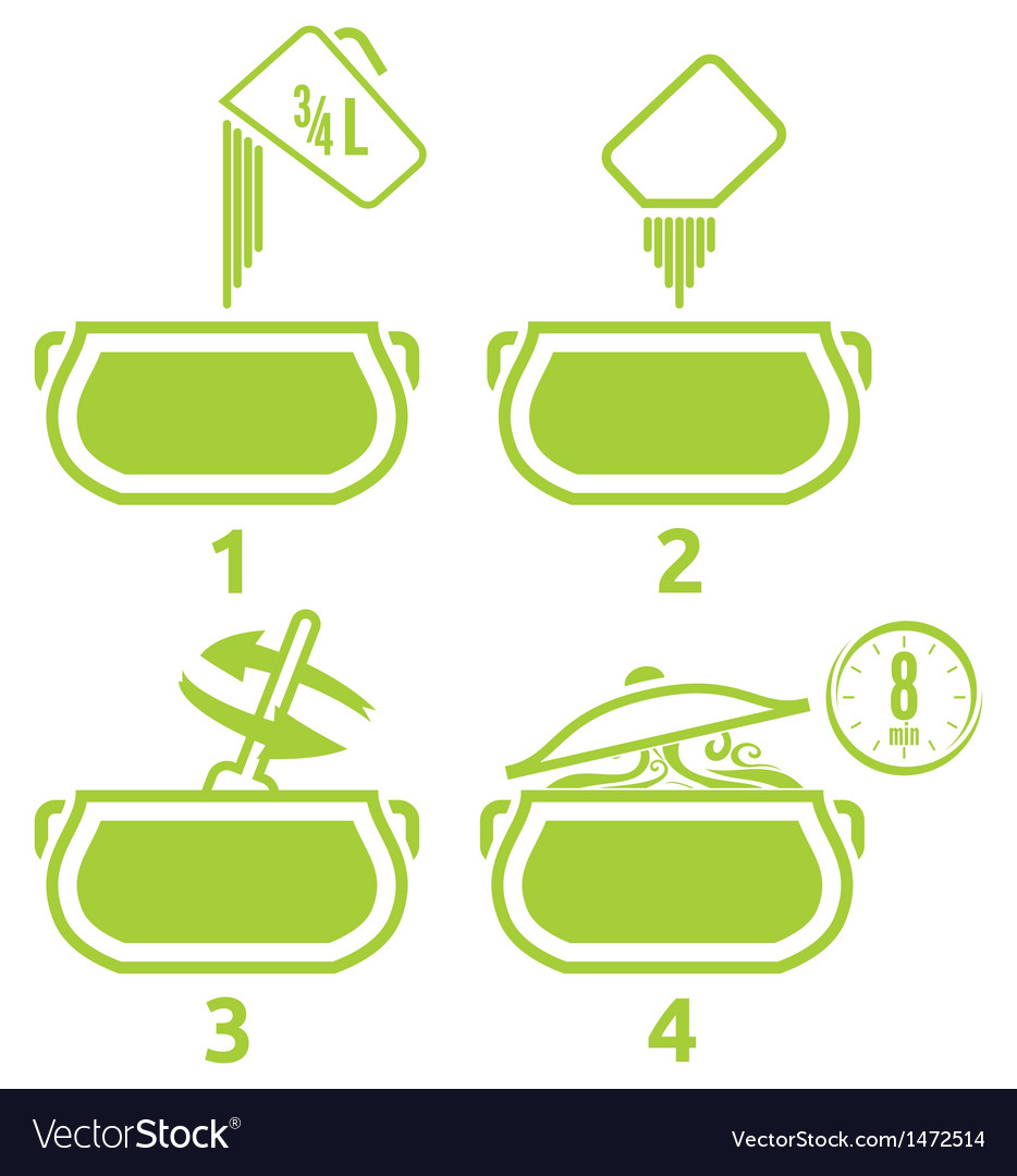Kitchen icons set how to prepare vector | Price: 1 Credit (USD $1)