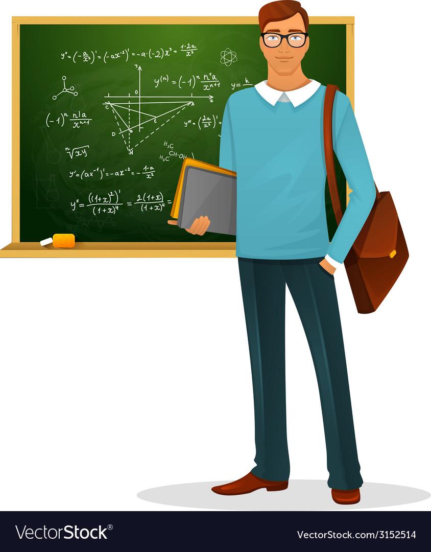 Male teacher with blackboard vector | Price: 1 Credit (USD $1)