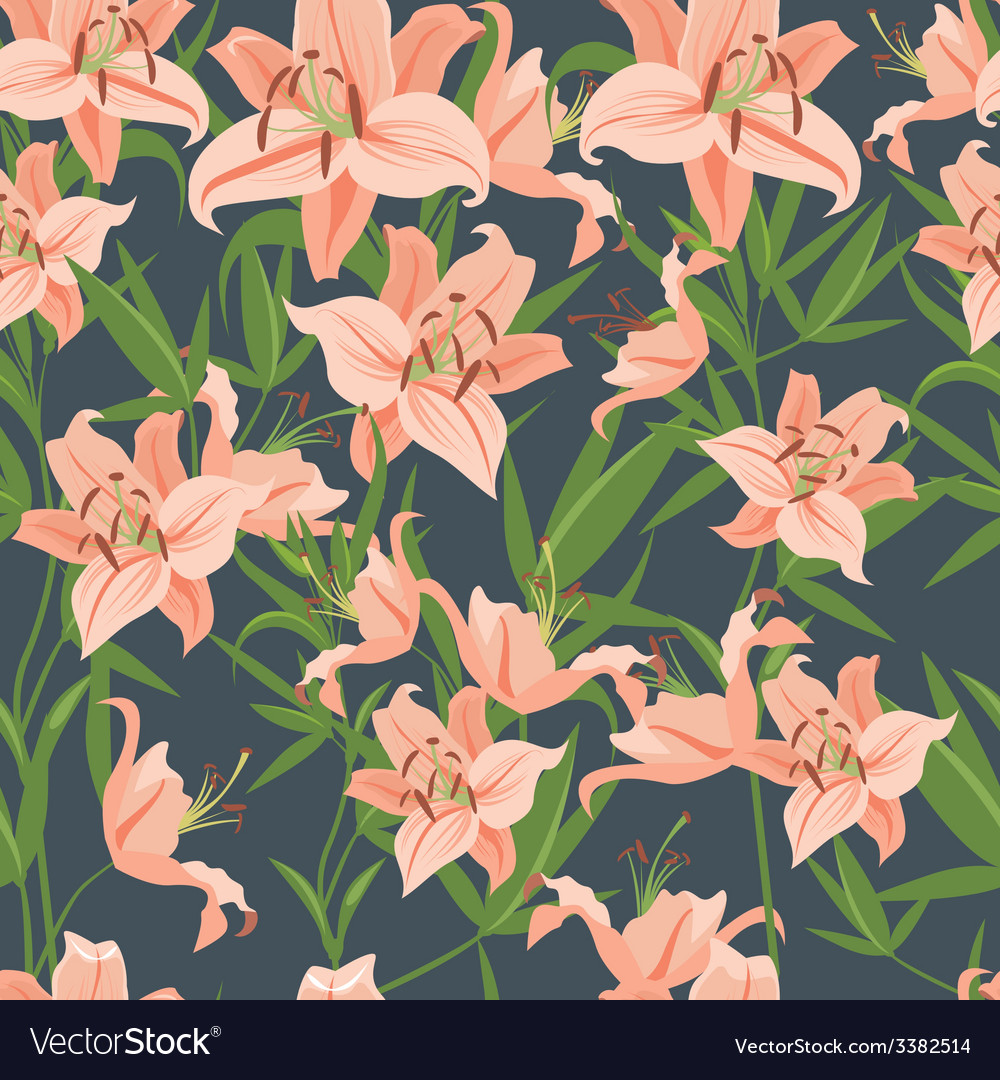 Pink lily seamless pattern vector | Price: 1 Credit (USD $1)