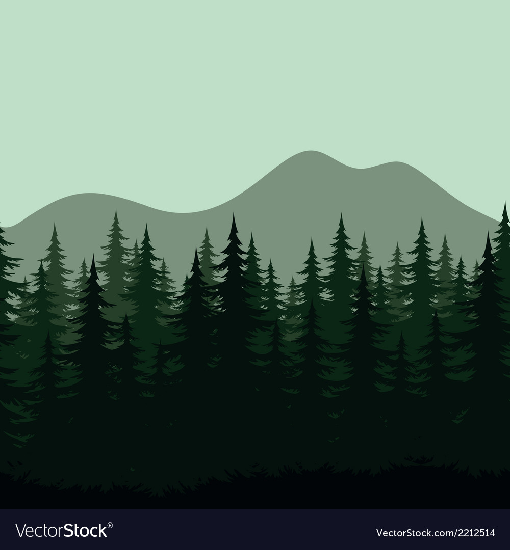 Seamless mountain landscape forest silhouettes vector | Price: 1 Credit (USD $1)