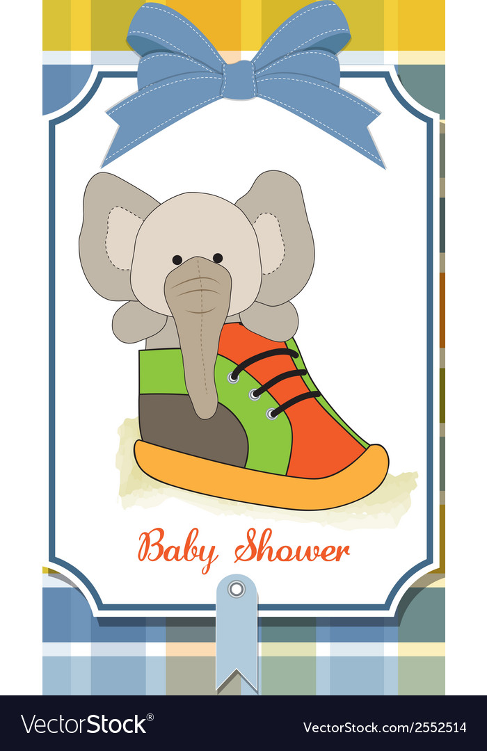 Shower card with an elephant hidden in a shoe vector | Price: 1 Credit (USD $1)