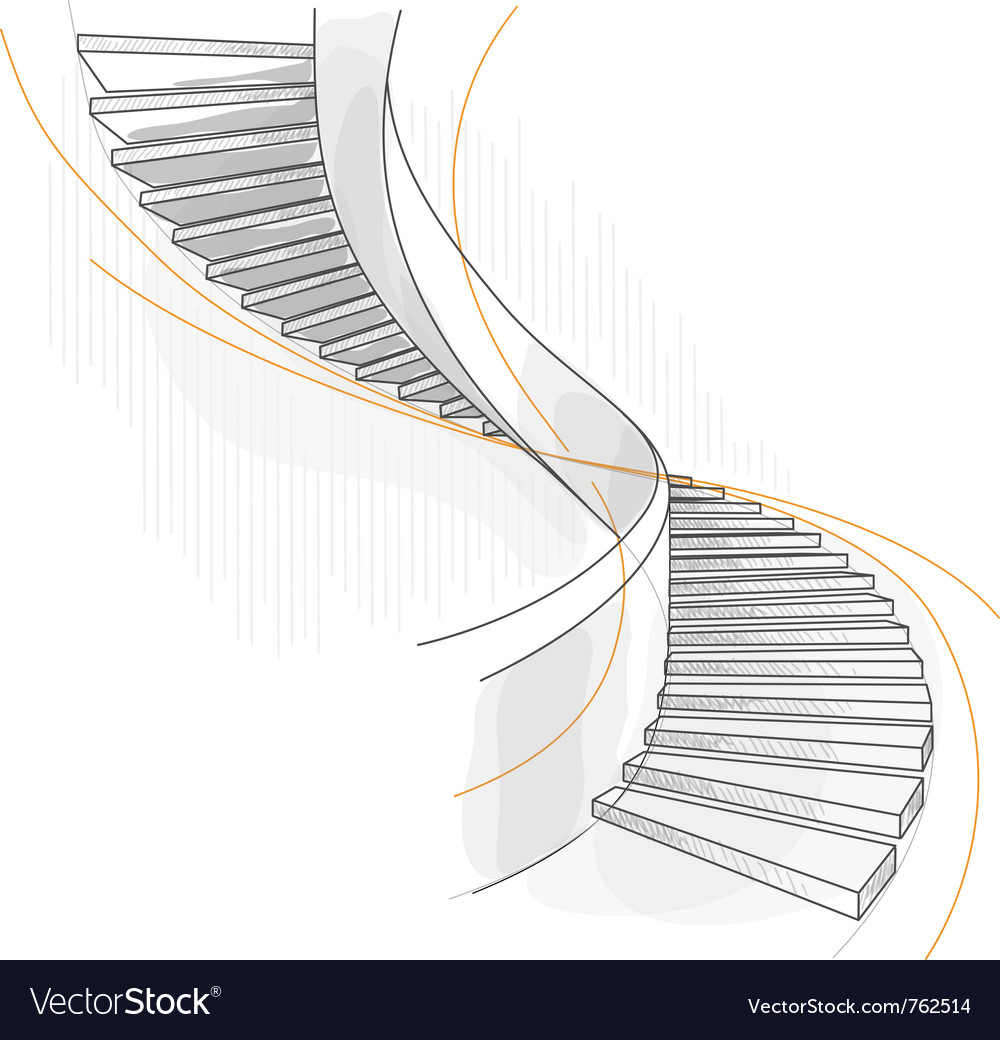 Sketch of a spiral staircase vector | Price: 1 Credit (USD $1)