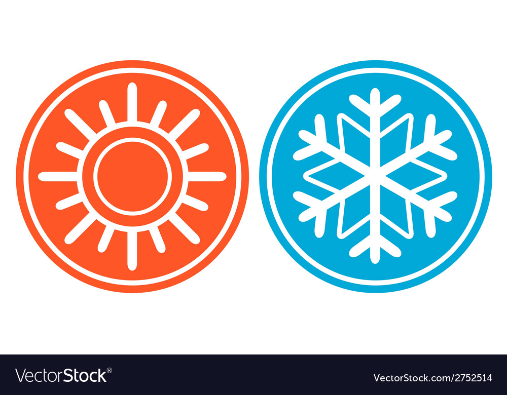 Snowflake with sun - season specific icon vector | Price: 1 Credit (USD $1)