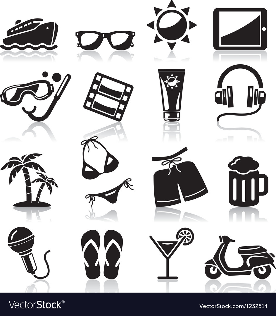 Travel black icons set vector | Price: 1 Credit (USD $1)