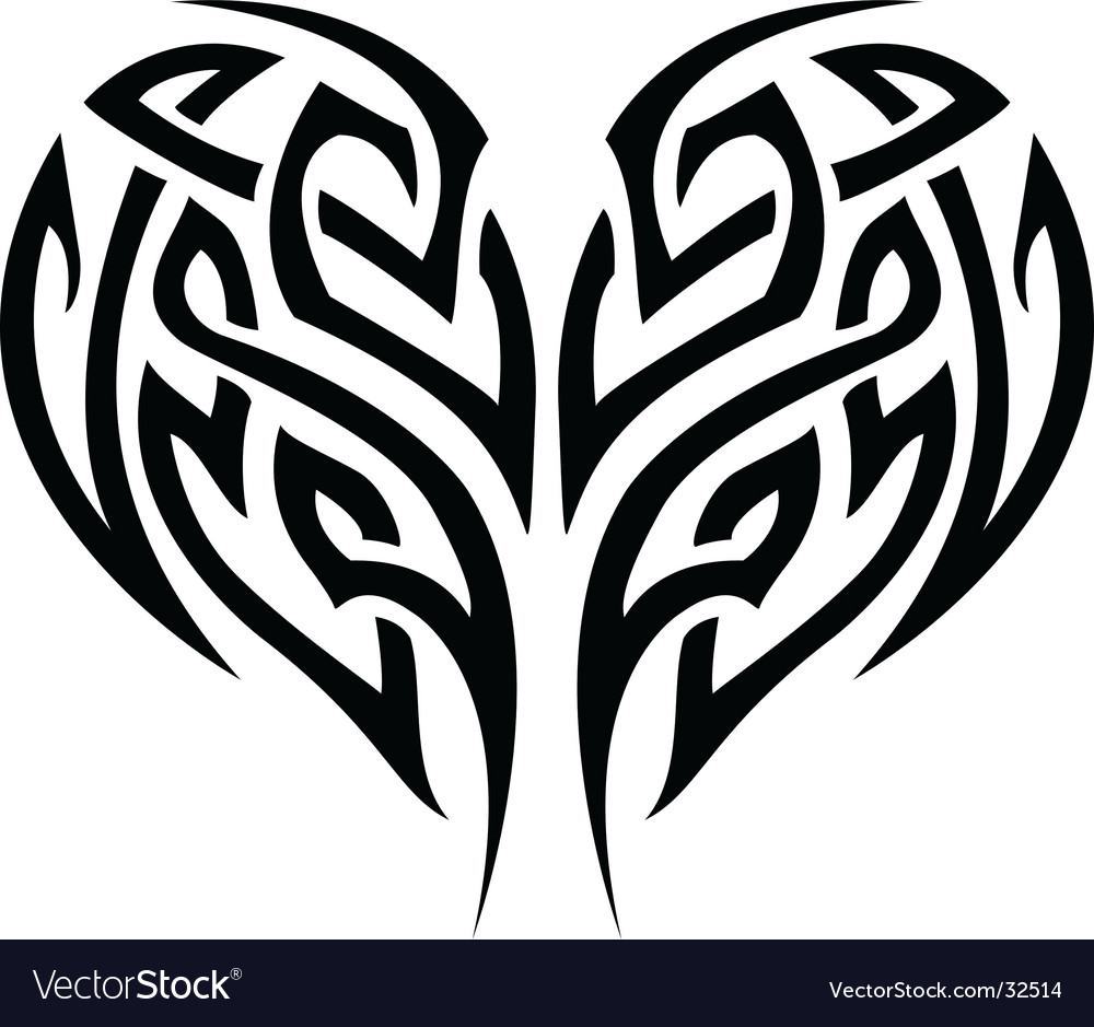 Tribal tattoo heart vector | Price: 1 Credit (USD $1)