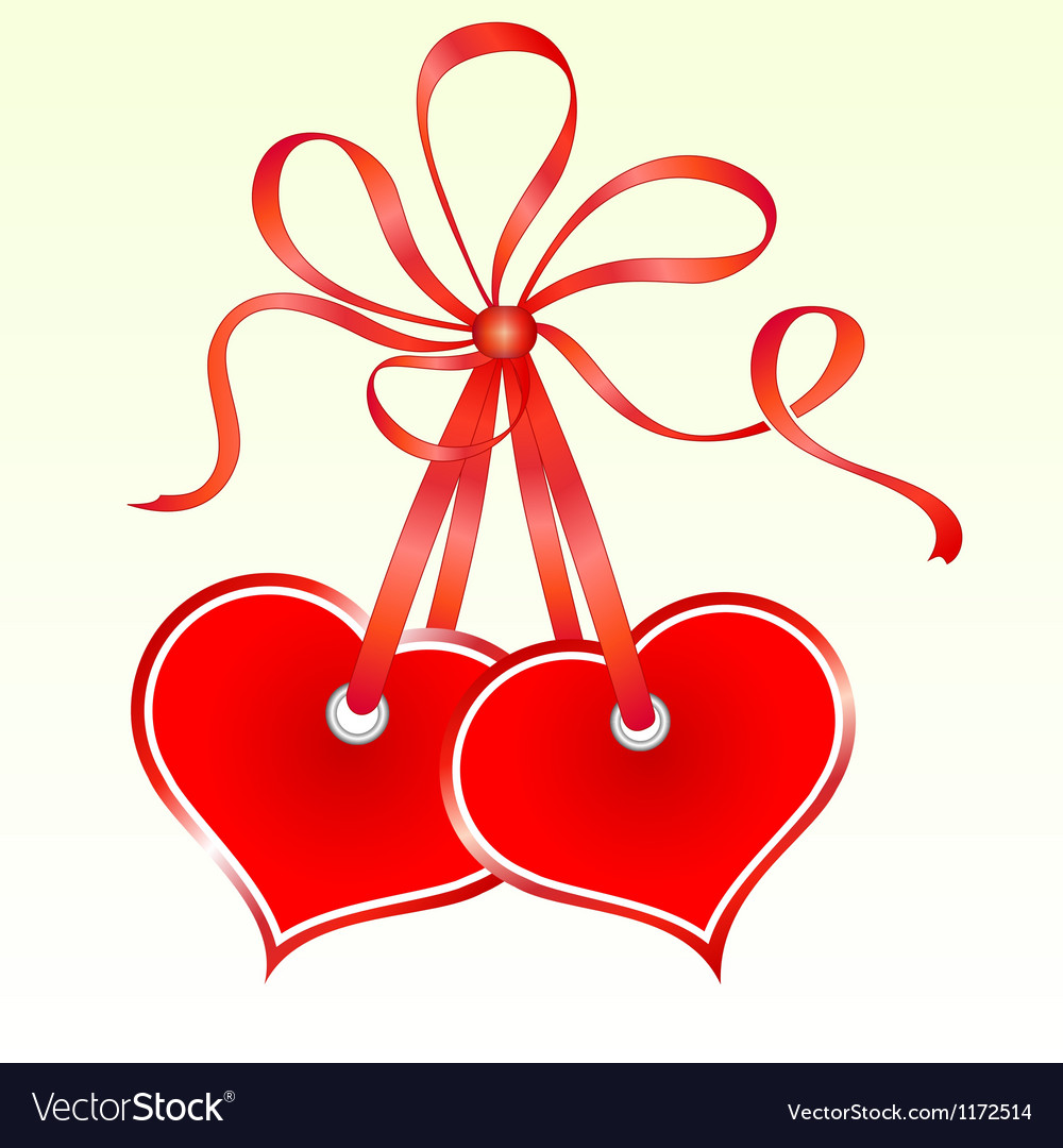 Two tied heart shaped tags vector | Price: 1 Credit (USD $1)