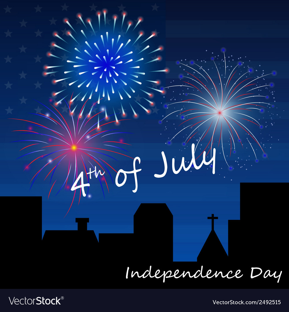4th of july fireworks background vector | Price: 1 Credit (USD $1)