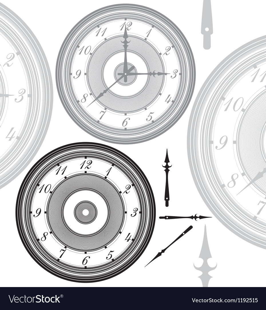 Adjustable vintage clock with separated hands vector | Price: 1 Credit (USD $1)