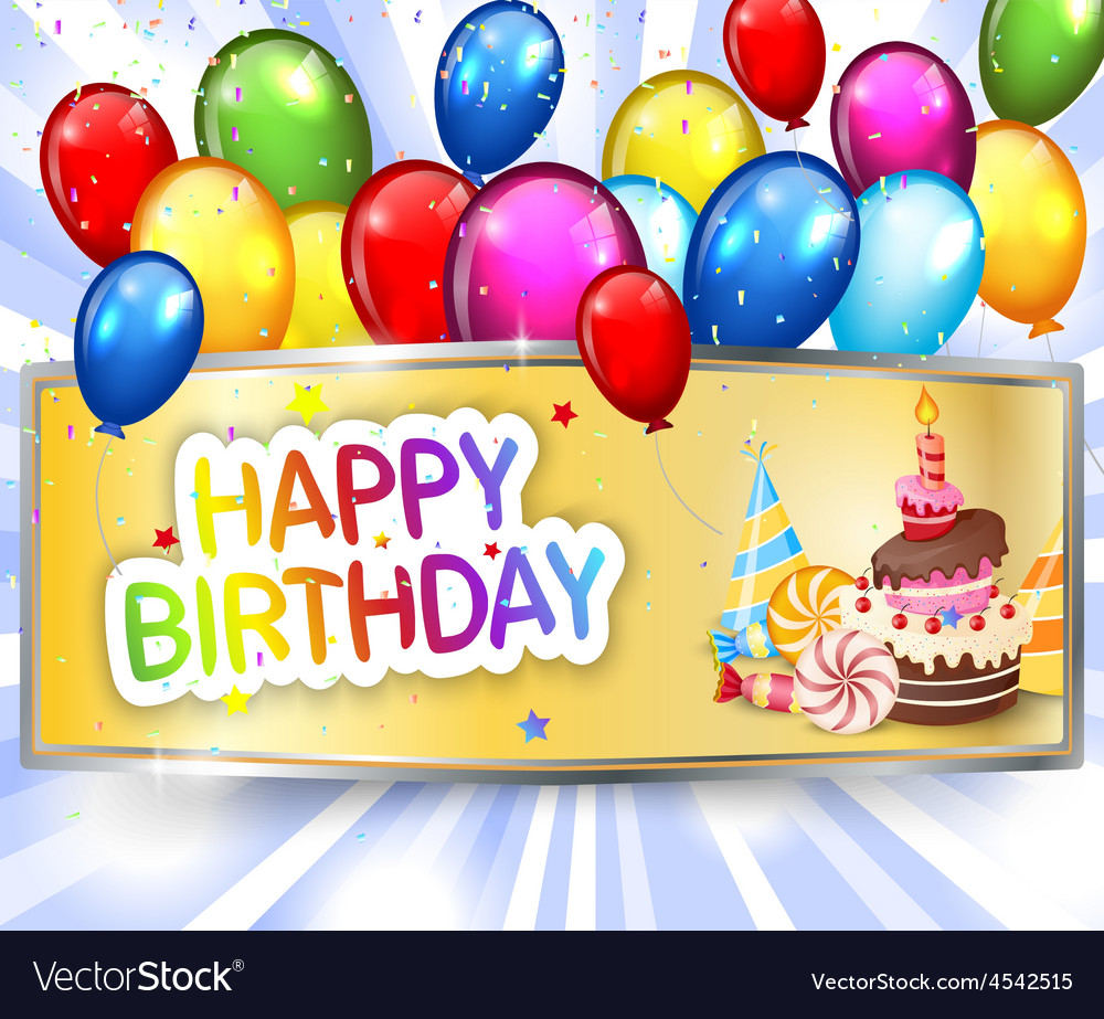 Birthday background with colorful balloon vector | Price: 1 Credit (USD $1)