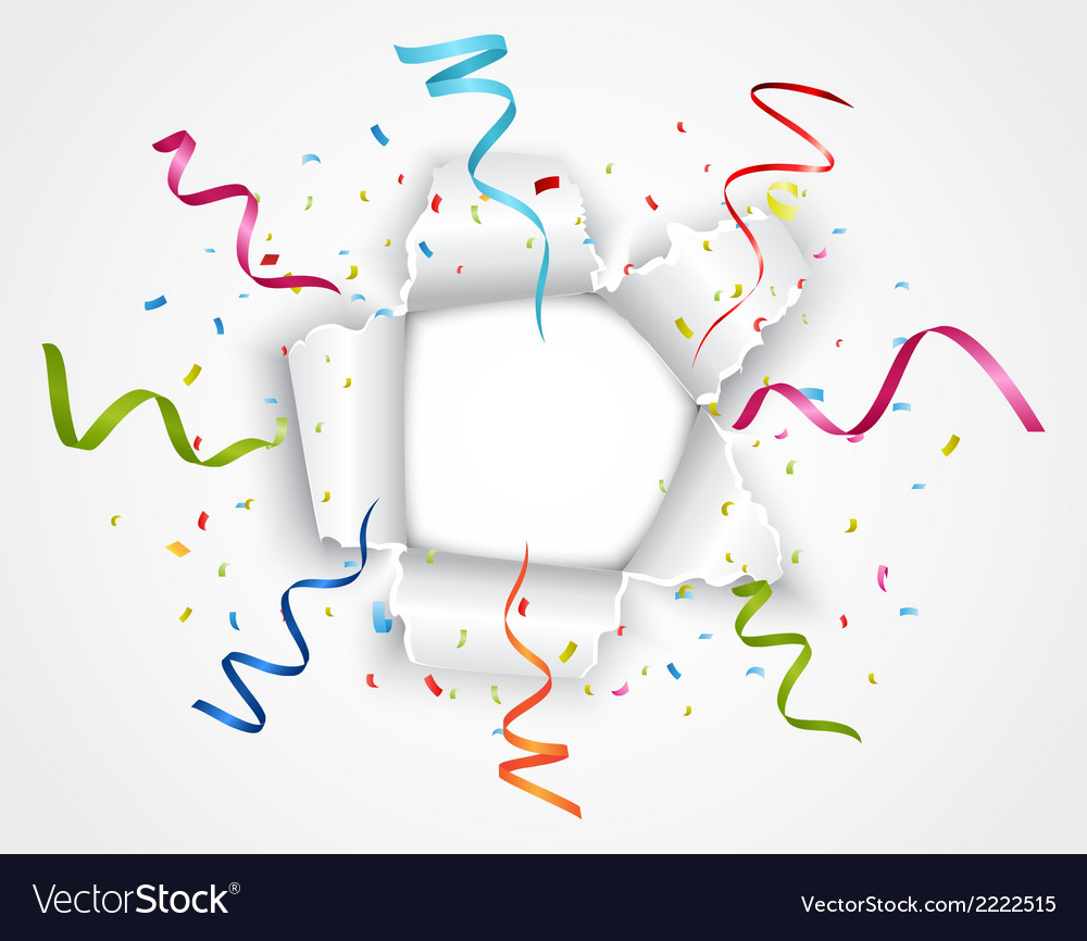 Celebration in ripped paper with ribbon vector | Price: 1 Credit (USD $1)