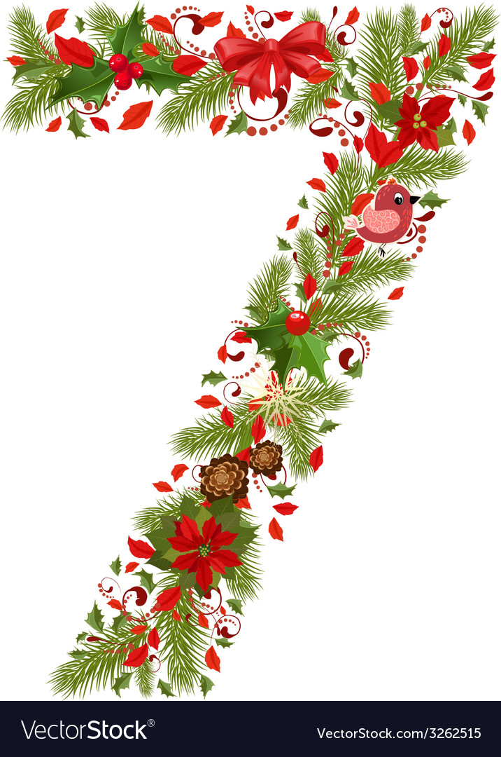 Christmas floral tree number 7 vector | Price: 1 Credit (USD $1)