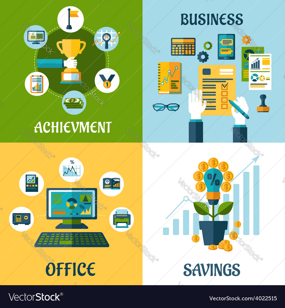 Flat concept of business office achievement vector | Price: 1 Credit (USD $1)