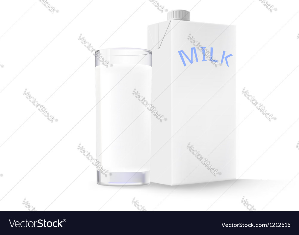 Glass of milk and a box vector | Price: 1 Credit (USD $1)