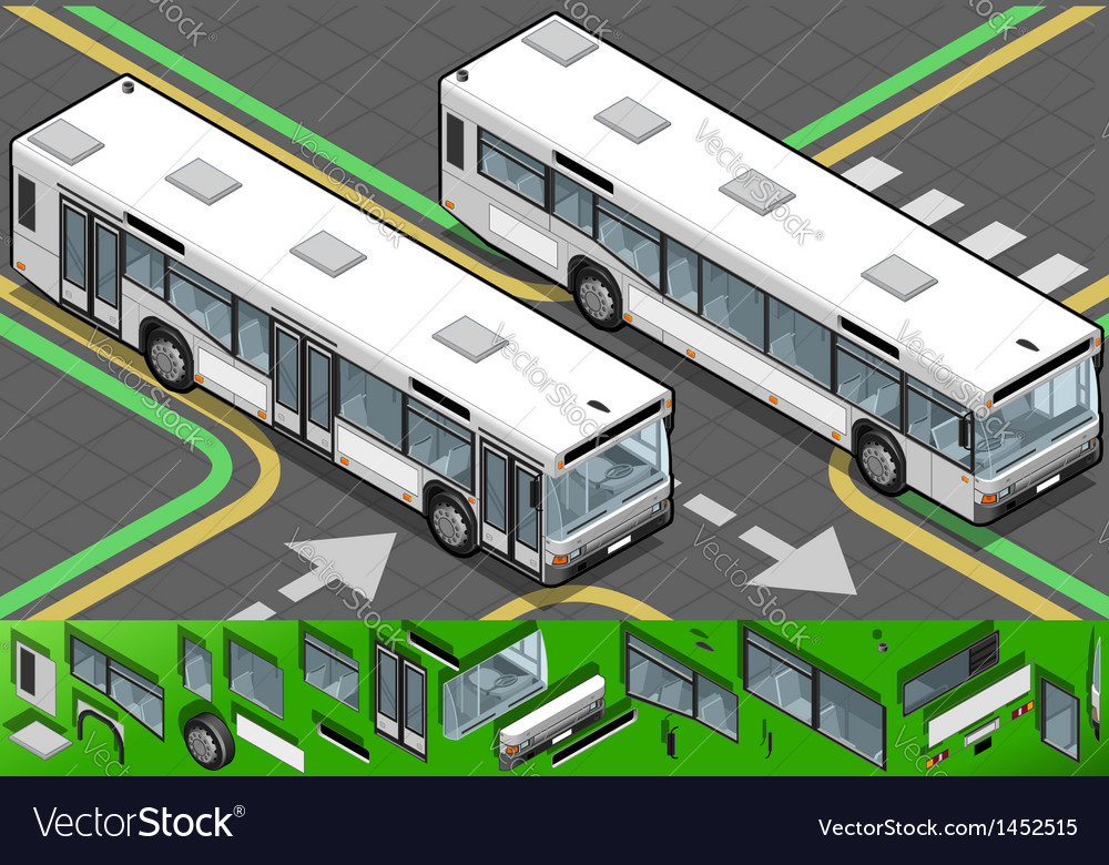 Isometric bus in front view vector | Price: 1 Credit (USD $1)