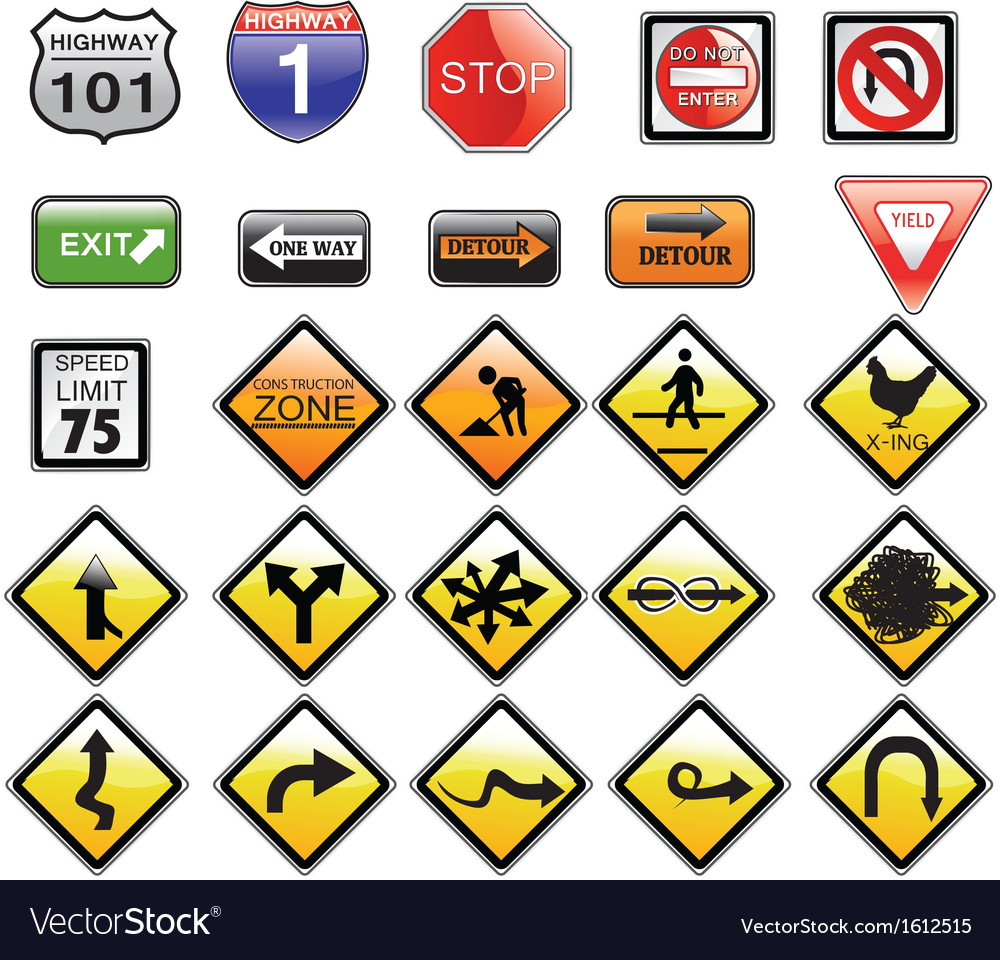 Road signs set vector | Price: 1 Credit (USD $1)