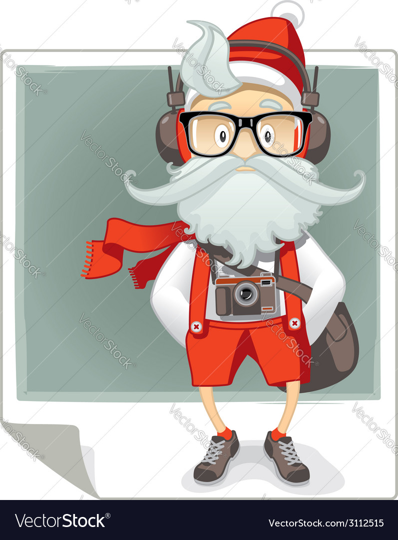 Santa claus hipster style cartoon vector | Price: 3 Credit (USD $3)