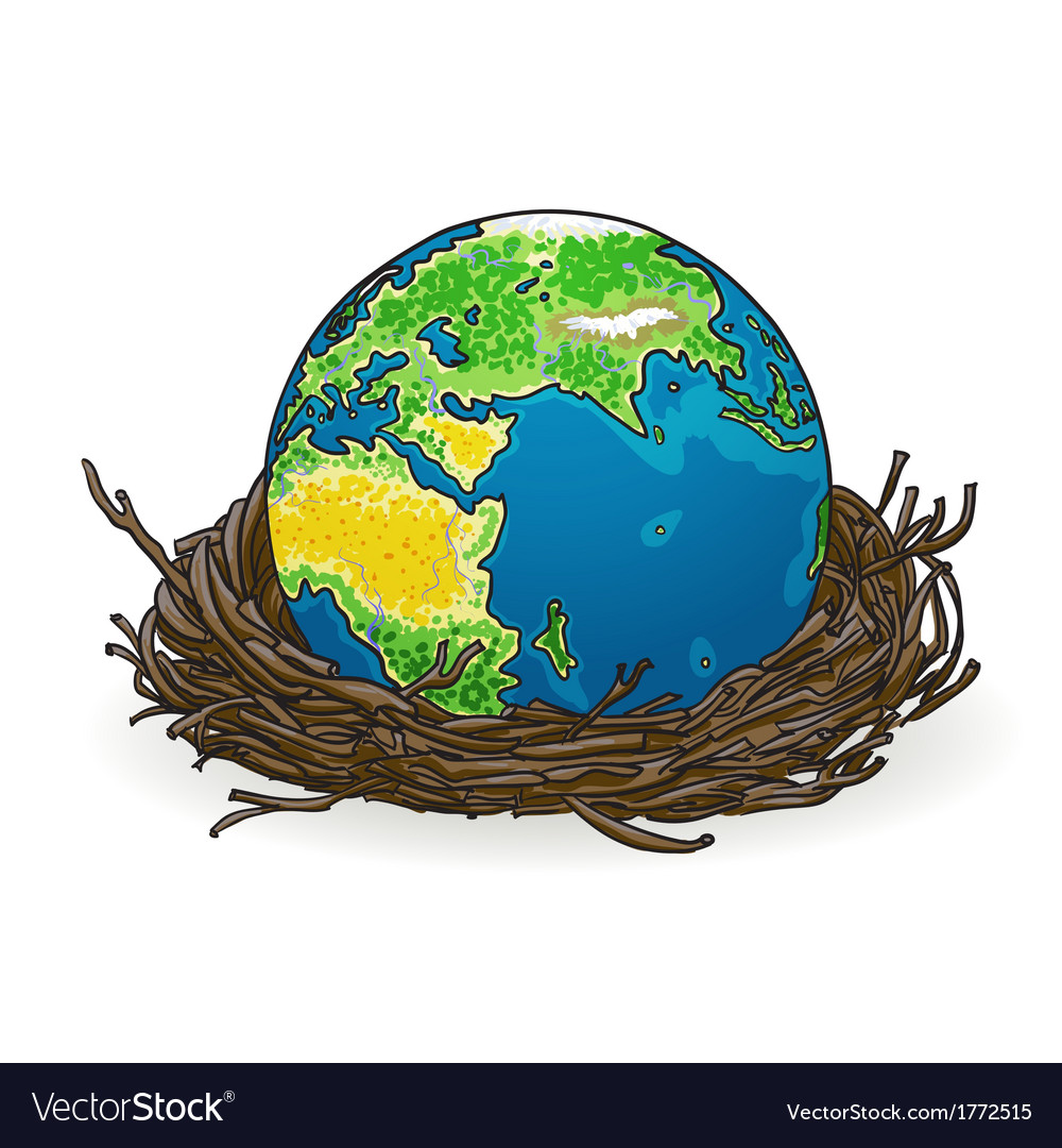 Small model of earth in a birds nest vector | Price: 1 Credit (USD $1)