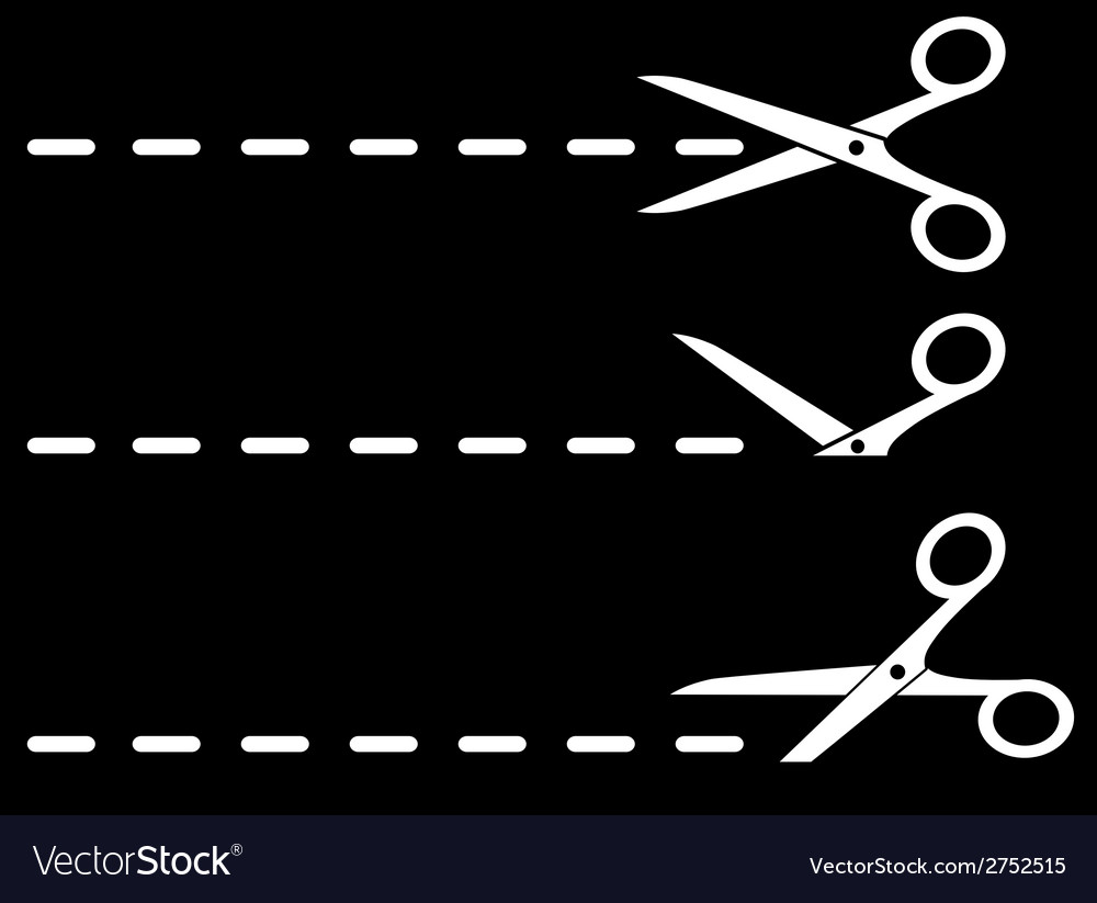 White scissors and cut lines set vector | Price: 1 Credit (USD $1)