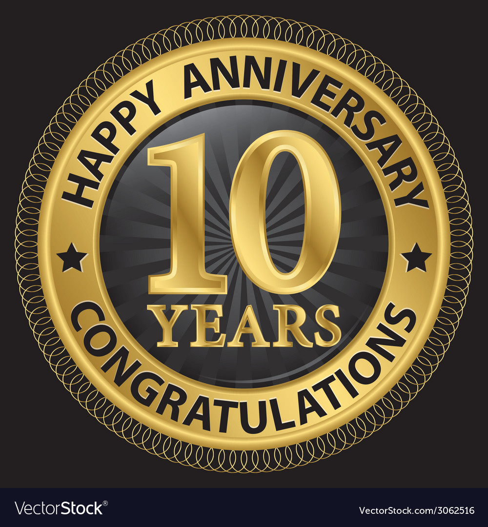 10 years happy anniversary congratulations gold vector | Price: 1 Credit (USD $1)