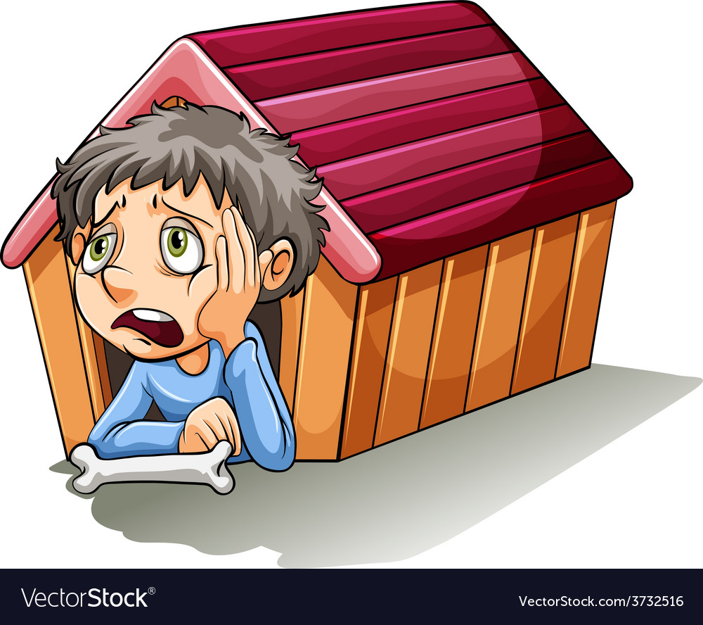 A boy inside the doghouse vector | Price: 1 Credit (USD $1)