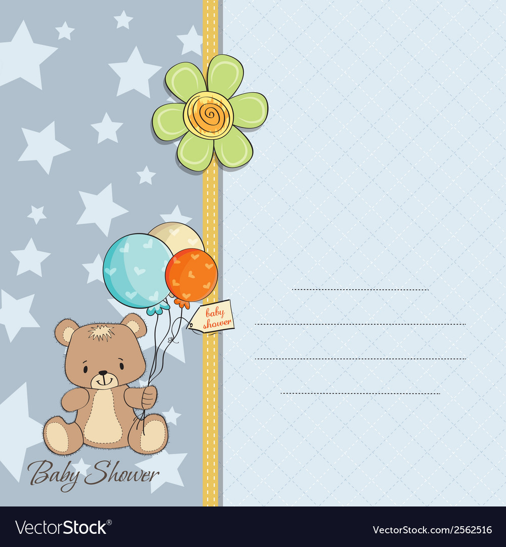 Baby boy shower card with cute teddy bear vector | Price: 1 Credit (USD $1)