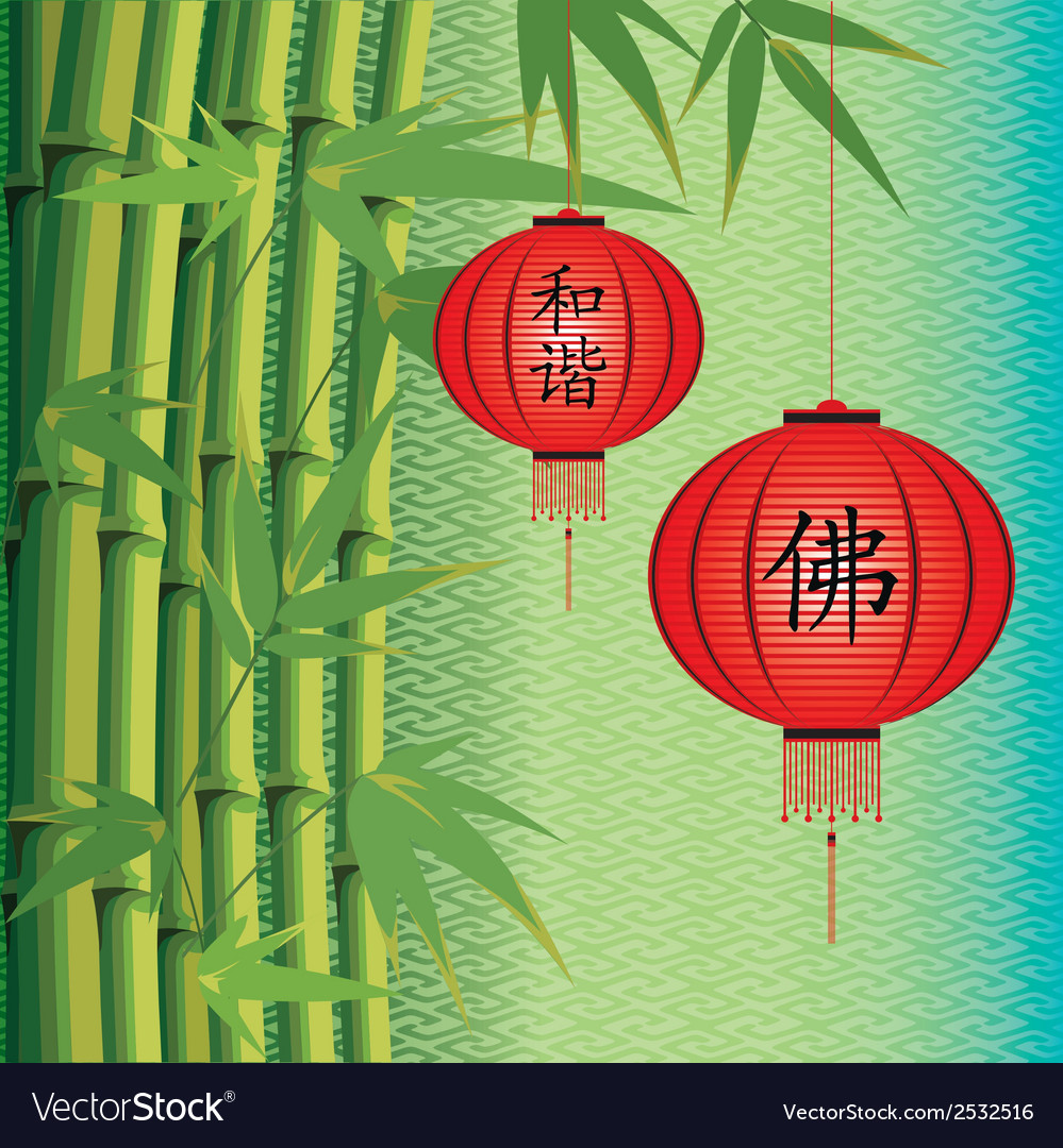 Background with bamboo and chinese lanterns vector | Price: 1 Credit (USD $1)