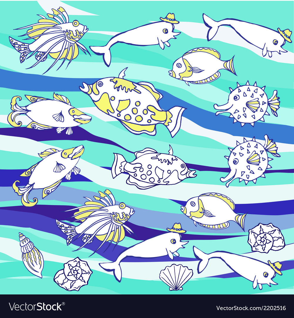 Blue background with waves and fishes vector | Price: 1 Credit (USD $1)