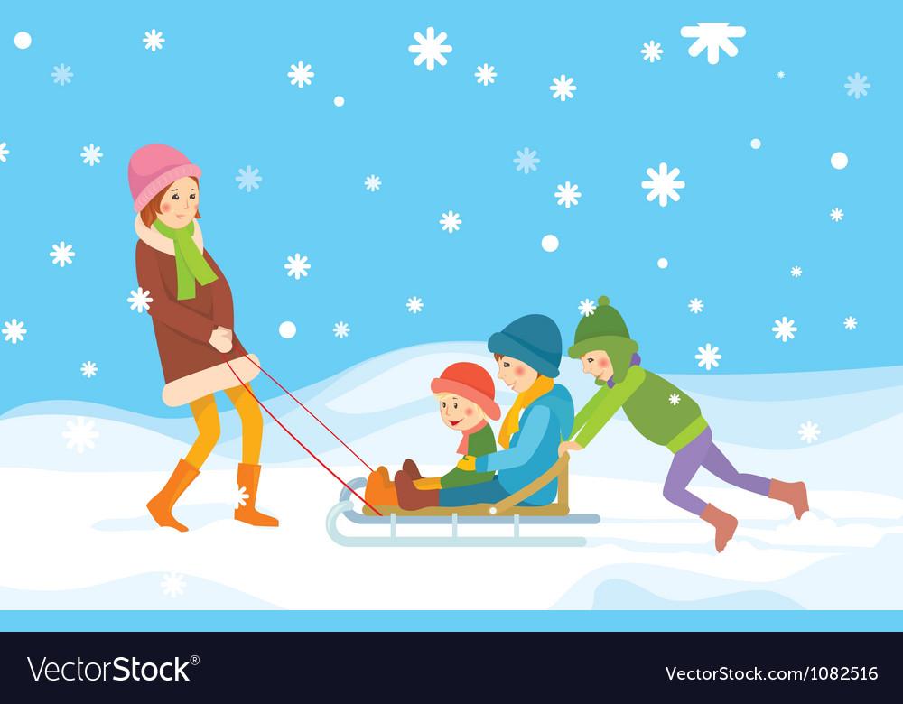 Children sledding vector | Price: 3 Credit (USD $3)