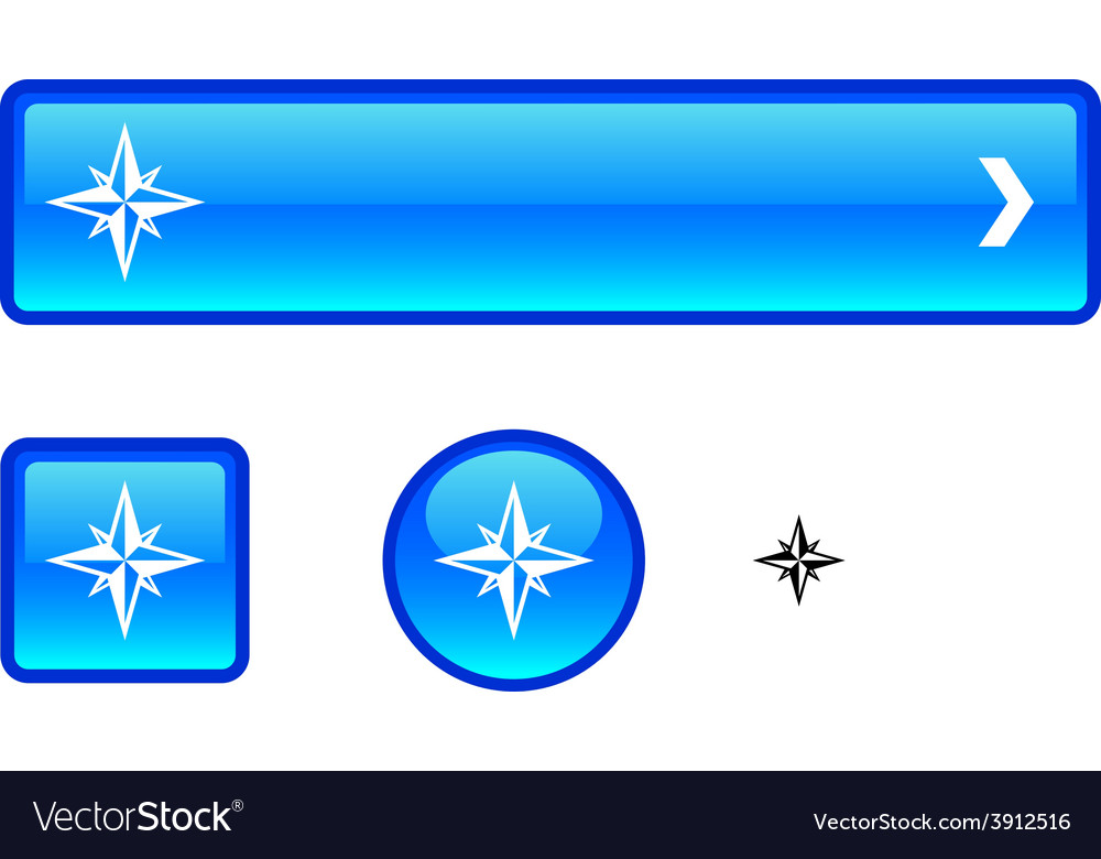 Compass button set vector | Price: 1 Credit (USD $1)