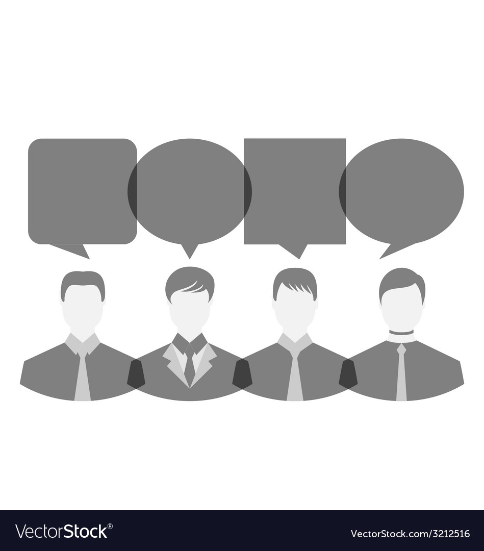Icons of businessmen with dialog speech bubbles vector | Price: 1 Credit (USD $1)