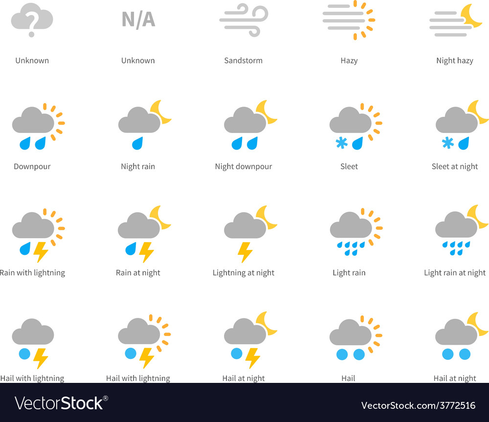 Meteorology colored icons on white background vector | Price: 1 Credit (USD $1)