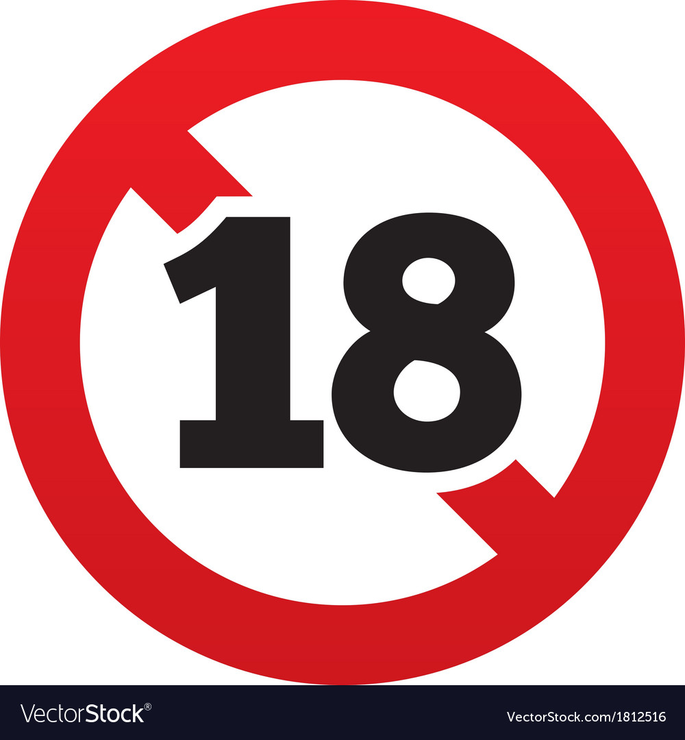 No 18 years old sign adults content icon vector | Price: 1 Credit (USD $1)