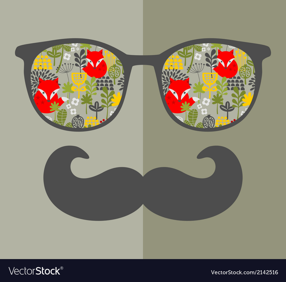 Retro sunglasses with reflection for hipster vector | Price: 1 Credit (USD $1)