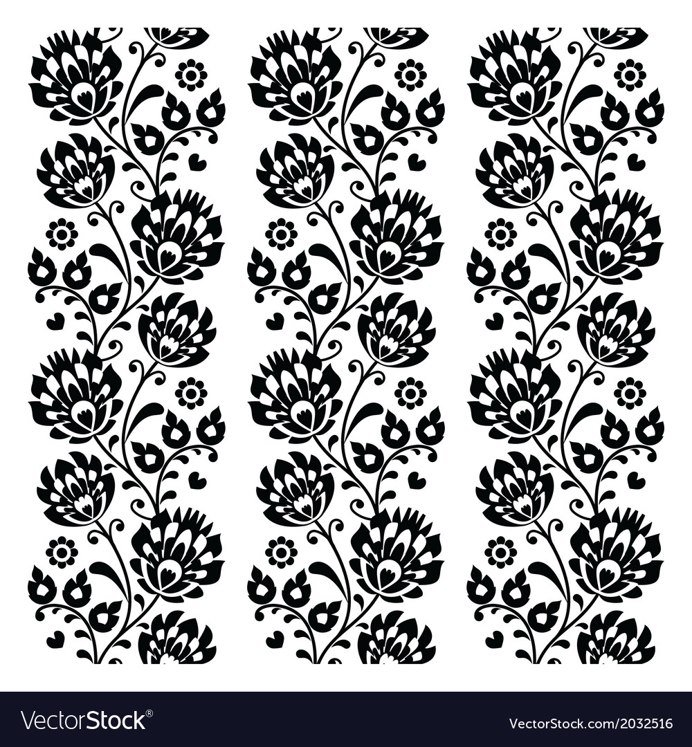 Seamless traditional folk polish pattern in black vector | Price: 1 Credit (USD $1)