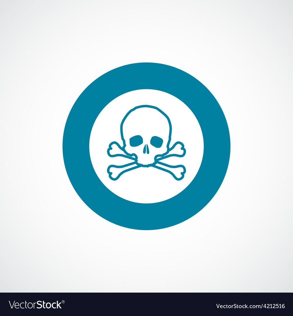 Skull icon bold blue circle border vector | Price: 1 Credit (USD $1)