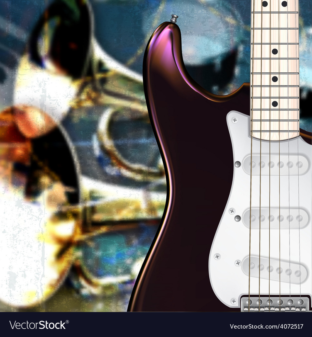Abstract grunge background with electric guitar vector | Price: 3 Credit (USD $3)