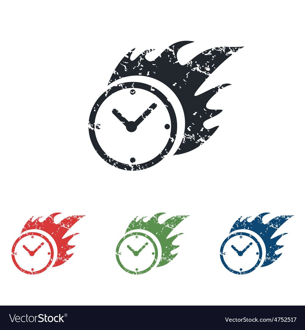 Burning clock grunge icon set vector | Price: 1 Credit (USD $1)