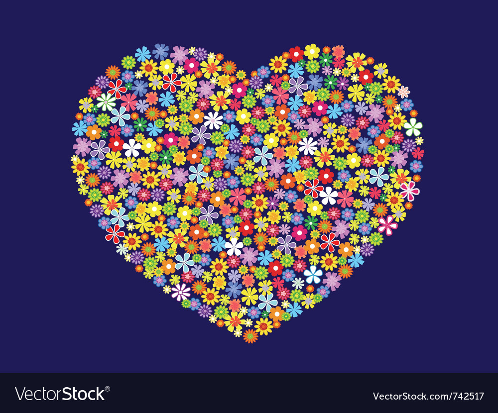 Contour heart of flowers vector | Price: 1 Credit (USD $1)