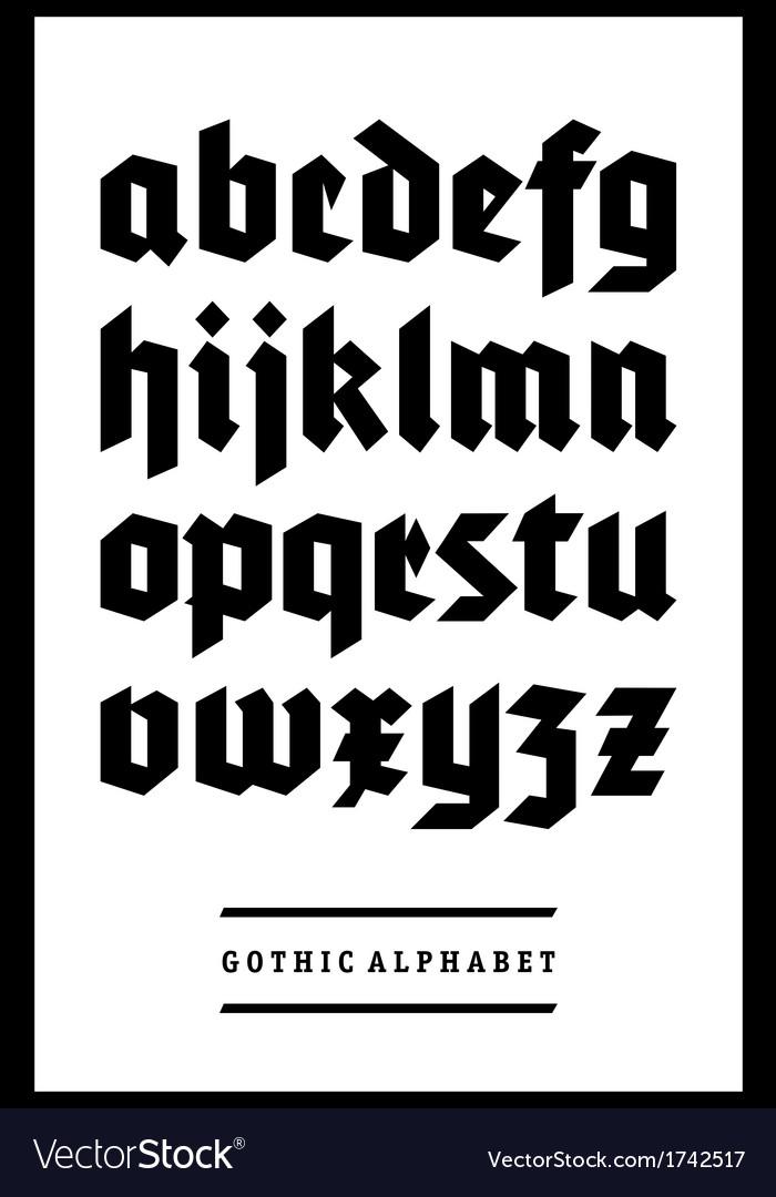 Gothic font alphabet type vector | Price: 1 Credit (USD $1)