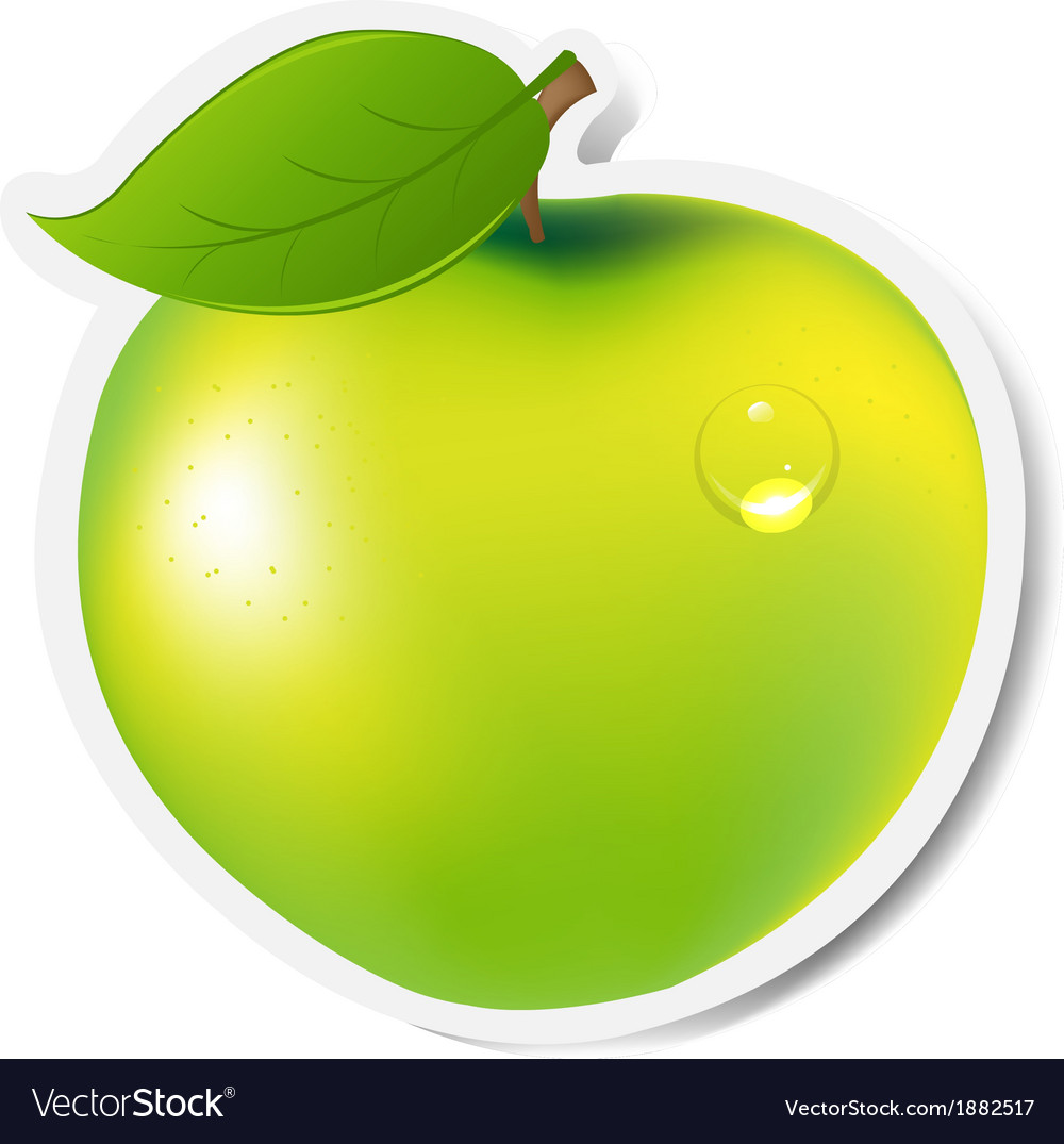 Green apple label vector | Price: 1 Credit (USD $1)