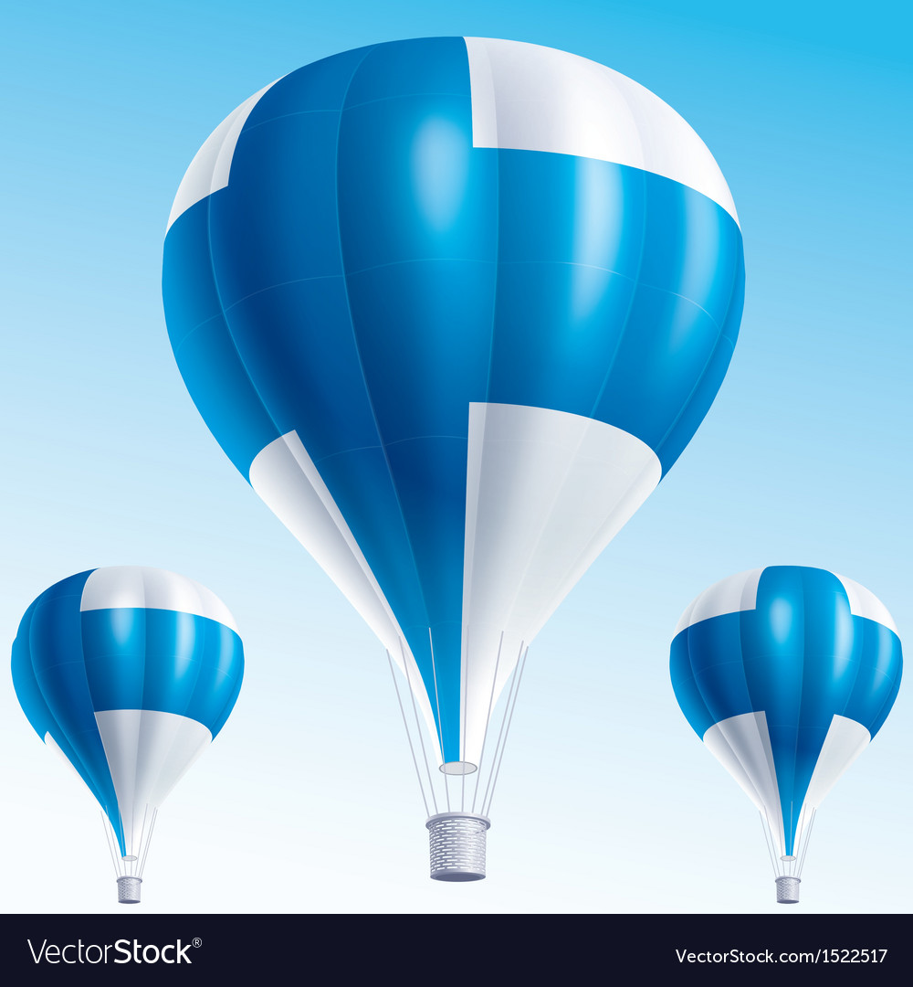 Hot balloons painted as finland flag vector | Price: 3 Credit (USD $3)