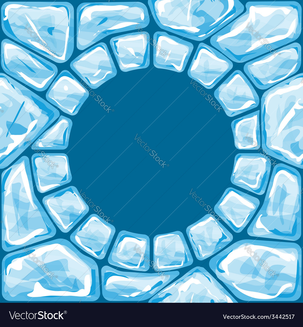 Round frame on blue ice seamless pattern vector | Price: 1 Credit (USD $1)